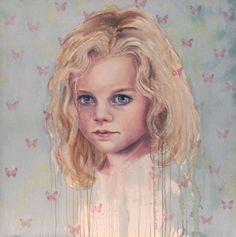 © Cherry Hood ~ Estella Butterfly ~ 2008 watercolour and oil on canvas at Tim Olsen Gallery Sydney Australia