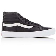 Vans Women's Sk8-Hi Leather Sneakers ($110) ❤ liked on Polyvore featuring shoes, sneakers, black, black sneakers, black leather sneakers, lace up sneakers, vans shoes and black high tops