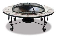 Mosiac Tile Outdoor Fireplace. Could make flat cover for center to double as table.