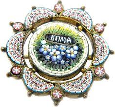 Micro Mosaic Jewelry | Micro Mosaic Brooch from cynthiafindlayantiques on Ruby Lane