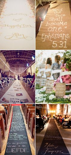 creative wedding aisles with romantic quotes