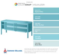 I found these colors with ColorSnap® Visualizer for iPhone by Sherwin-Williams: Rapture Blue (SW Nautilus (SW After the Rain (SW Cay (SW Cloudless (SW Bravo Blue (SW Kitchen Paint Colors, Interior Paint Colors, Paint Colors For Home, Popular Paint Colors, Favorite Paint Colors, Room Colors, House Colors, Colours, Paint Color App