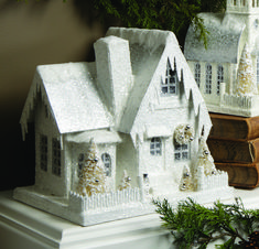 white and gold christmas putz village Christmas Village Houses, Putz Houses, Christmas Villages, Christmas Traditions, Noel Christmas, Christmas Paper, Christmas Projects, Christmas Glitter, Xmas