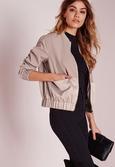 Tall Exclusive Satin Two Tone Bomber Jacket Mauve