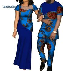 African Dresses for Women Bazin Mens Shirt and Pants Sets Lover Couples Clothes Print Yarn Dress African Design Clothing Latest African Fashion Dresses, African Dresses For Women, African Print Fashion, African Wear, African Outfits, African Clothes, African Attire, African Women, Traditional African Clothing