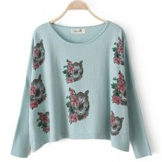 Sweet Candy Color Tigers in Flowers Pattern Long Sweater $30.89