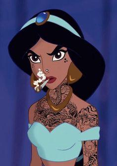 Image may contain: one or more people Punk Disney, Disney Art, Goth Disney Princesses, Disney Characters, Disney Aladdin, Princess Tattoo, Twisted Disney, Modern Princess, Pulp Art