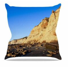 "East Urban Home Beach Cliffside Rocks by Nick Nareshni Throw Pillow Size: 26"" H x 26"" W x 4"" D"