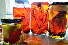 """Beautiful Autumn snsory jars from Blog Me Mom - water, oil, food colouring, glitter, real leaves, silk leaves & twigs ("""",)"""