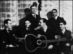 Quintette of the Hot Club of France - 1934.   Left to Right: Stéphane Grappelli, Roger Chaput, Louis Vola, Django Reinhardt, Bert Marshall, Joseph Reinhardt.