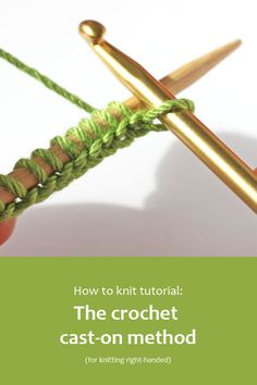 The crochet cast-on method creates a really neat edge that resembles a chain cast-off edge; it is sometimes known as the cast-off cast-on method. knitting techniques The Crochet Cast-on Method for right-handed knitters Cast On Knitting, Knitting Help, Easy Knitting, Knitting For Beginners, Loom Knitting, Knitting Stitches, Knitting Needles, Knitting Patterns Free, Knitting Tutorials