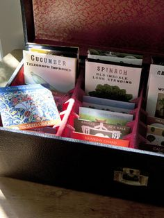 Cassette tape case for organized seed storage.  From Neko Case in Country Living. (I'd need a LOT of cassette tape cases ... a lot)