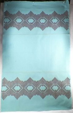 Beautiful Aqua Huck Show Towel w Brown Embroidery Vintage Needs to Be Fringed | eBay