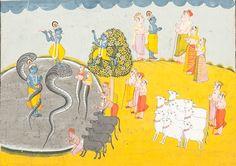Indian School, 18th Century, Mughal Period Paintings of Krishna
