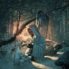 Sansa Stark in the godswood at the Eyrie  By Michael Komarck for the 2009A Song of Ice & Fire Calendar