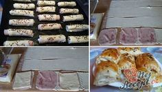 Listové rolky se šunkou a sýrem - rychlovečka | NejRecept.cz Brunch Buffet, Snacks Für Party, Sushi, Sausage, Sandwiches, Food And Drink, Appetizers, Cheese, Meat