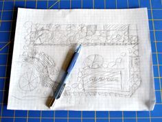 Initial garden sketch on graph paper _ getting ready to eliminate the last of our lawn!