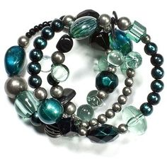 Jet Teal/Gray Bracelet coupled with a solid dark teal scarf. Out of stock but love the colors!!