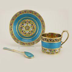 Feodor Rückert Enamel Cup, Saucer & Spoon Russian silver gilt http://atzbach.com/product/feodor-ruckert-enamel-cup-saucer-spoon/