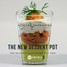 The New Dessert Pot – Stylish Savouries. 100% Recyclable polycarbonate, Made in the UK, Stock immediately available. Crushed Avocado, smoked salmon, cream cheese and chive.  Order yours now at https://www.harfieldtableware.co.uk/code-245cle-200ml-desse…   #Stylishsavouries #Lowercarbonfootprint #environment #avocado #smokedsalmon #creamcheeseandchive #dessertpot #polycarbonate #madeintheuk #stockavailable