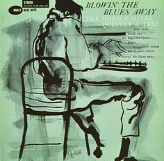 More wonderfully, simple 2-colour work from Reid Miles with a great illustration, for this Horace Silver Quintet album. One of Silver's classic Blue Note albums.