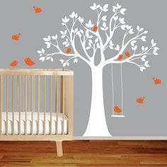 Vinyl Wall Decal Stickers Bird White Tree Set by wallartdesign  This color combo, but owls