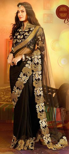 147832 Black and Grey  color family Bollywood sarees in Net fabric with Border,Lace,Machine Embroidery,Patch work .
