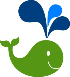 Ocean Preppy Boy Party Theme - Green Whale Clip Art