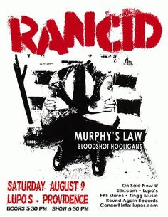Concert poster for Rancid at Lupos in Providence, RI in 2008. 8.5 x 11 inches on card stock.