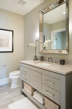 Amazing DIY Bathroom Ideas, Bathroom Decor, Bathroom Remodel and Bathroom Projects to simply help inspire your master bathroom dreams and goals. Bathroom Mirror Design, Bathroom Colors, Bathroom Interior, Bathroom Storage, Modern Bathroom, Bathroom Vanities, Vanity Mirrors, Bathroom Ideas, Gold Bathroom