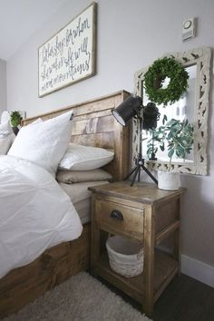 Remember the decor on the wall behind the side table for bedroom in cottage   -    Painted Side tables in rustic bedroom, farmhouse bedroom, distressed white side tables in bedroom
