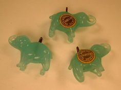 1940s Occupied Japan Glass Elephant Charms Love Charms, Amulets, Totems, Lucky Charm, Lockets, Charm Bracelets, Elephants, 1940s, Mosaic
