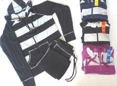 Women Loungewear 2Pcs Tracksuit Set Hoodies Zip Jacket+Pants Sports Gym Casual L