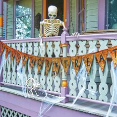 Make a big, festive statement with this 10-foot Happy Halloween Pennant Banner! It's perfect for a porch railing or over a door to welcome trick-or-treaters.