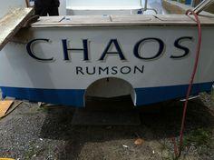 #TRANSOM: Chaos, Rumson #Boat #Transom #BoatTransom  TRANSOM #TECHNIQUE: #CustomBoatLettering   #BOAT #BUILDER #BoatBuilder: #ScarboroughBoatworks, #Wanchese, #NorthCarolina