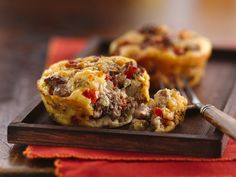 Impossibly Easy Mini Greek Burger Pies Made in a muffin tin. 1TBSP ...