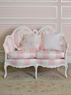 cute seat for girls room, love the chandelier pillow too