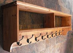 Original Crate Furniture Wide Hat and Coat Rack with Shelf Wall Mounted Solid Wood Display Shelves with Cast Iron Hooks for Hall Kitchen Bathroom or Bedroom, Antique Pine