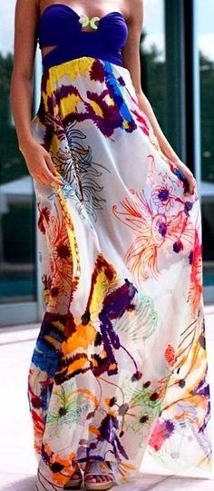 Colourful Flowy Maxi Summer Dress