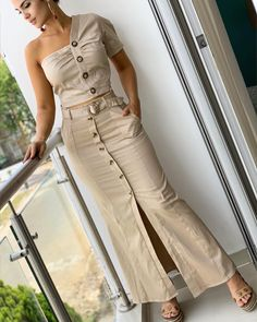 Image may contain: 1 person, standing Long Denim Skirt Outfit, Skirt Outfits, Women's Fashion Dresses, Sexy Dresses, Casual Dresses, Clothes For Women Over 50, Bodycon Dress With Sleeves, Chic Dress, Party Fashion