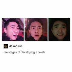 First stage:  Omg why he so kyott???  2nd stage:   *gasps* senpai is mine.  3rd stage:  F*ck I just realized that I've gotten too close to senpai that I will have a hard time transfering biases.