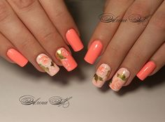 48 Ideas For Fails Art Flowers Coral Orange Nail Designs, Fall Nail Art Designs, Orange Nails, Green Nails, Cute Nails, Pretty Nails, Spring Nails, Summer Nails, Fabulous Nails