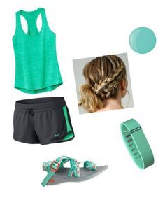 """""""Gone Hiking """" by lbrittain ❤ liked on Polyvore featuring Chaco, Athleta, NIKE, Fitbit and Essie"""