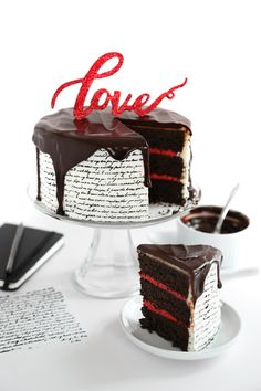 Love Letter Tuxedo Cake with Stamped Wafer Paper Technique | Sprinkle Bakes