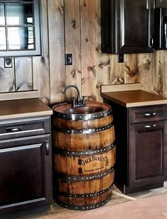 Home Improvement Solutions That You Can Use. Do want to start turning your home into a dream house? Man Cave Vanity, Whiskey Barrel Sink, Cave Bar, Wine Barrel Furniture, Simple Artwork, Man Cave Garage, Oak Color, Wood Bathroom, Bars For Home