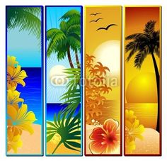#Tropical #Seascape and #Sunset #Banners - #Vector © bluedarkat #50848855 -  http://it.fotolia.com/id/50848855/partner/200929677