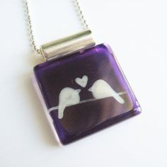 Love birds purple pendant  Hand painted  by azurine on Etsy, $25.00