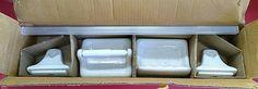 ACP Vintage Ceramic NOS recessed tile in flush bathroom Accessories set USA 3Pcs #APC