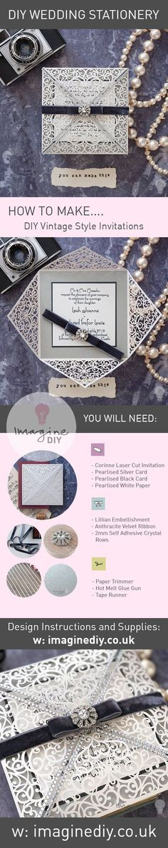 Make your own 1920s art deco wedding invitations in silver and white.  Ideas to make vintage style wedding invitations in silver and white.  DIY wedding stationery supplies and instructions available from www.imaginediy.co.uk.   DIY wedding idea.  Vintage wedding.  #vintageweddingidea #vintagewedding #diywedding #diyweddingidea #diyweddinginvitation #silverwedding #diyweddingstationery #artdecowedding #1920swedding  Silver wedding, vintage wedding, DIY wedding ideas, laser cut invitations,