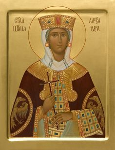 This icon of Holy Queen Alexandra can be painted using acrylic or tempera paints. Painted icons to order in the Catalog of St Elisabeth Convent Byzantine Icons, Byzantine Art, Paint Icon, Russian Icons, Best Icons, Fairytale Art, Orthodox Icons, Religious Art, Holi